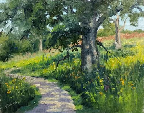 """""""Shaw Wetland Trail-en plein air"""" original fine art by Veronica Brown"""