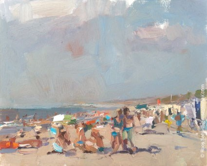 """""People on a Summer beach"" SSU17 (available)"" original fine art by Roos Schuring"