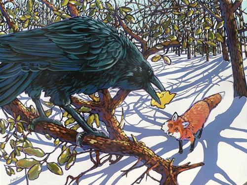 """The Fox and the Raven"" original fine art by Nadi Spencer"