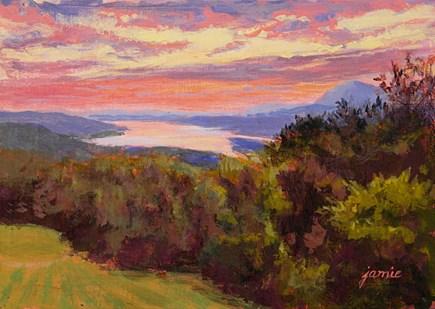 """Regal Sunset at Olana"" original fine art by Jamie Williams Grossman"