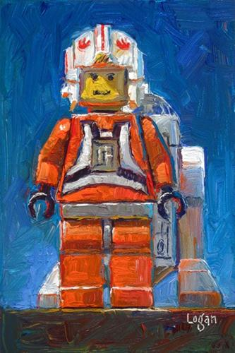 """LEGO Luke Skywalker and R2D2"" original fine art by Raymond Logan"