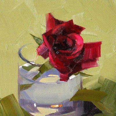 """Red Rose"" original fine art by Qiang Huang"