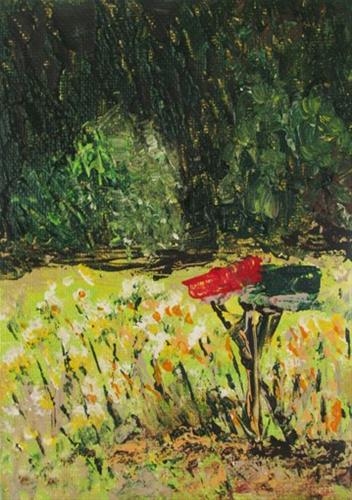 """Wildflowers with Mailboxes"" original fine art by Nan Johnson"