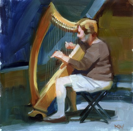 """The Harpist- sold"" original fine art by Kathy Weber"