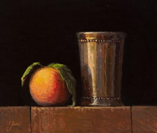 """Peach with Leaves and Silver Cup    (+ Artists of Yardley workshop)"" original fine art by Abbey Ryan"