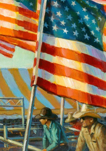 """Stars, Stripes, & Cowboys Forever"" original fine art by Lesley Spanos"