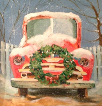 """Christmas Jalopy"" original fine art by Margie Whittington"