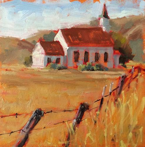"""Nicasio Church"" original fine art by Deborah Newman"