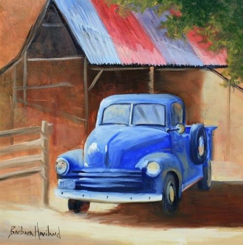"""'53 Blue Ford  vehicle,transportation,old truck"" original fine art by Barbara Haviland"