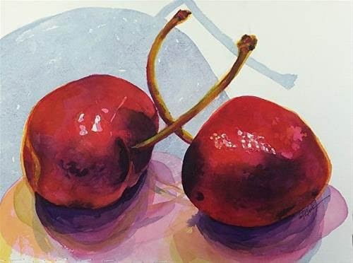 """Two Cherries, 10.5 x 14 Watercolor, Still Life"" original fine art by Donna Pierce-Clark"