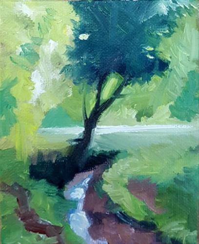 """A Bend in the River"" original fine art by J M Needham"
