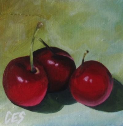"""Three Cherries"" original fine art by ~ces~ Christine E. S. Code"
