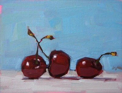 """Three Cherries"" original fine art by Carol Marine"