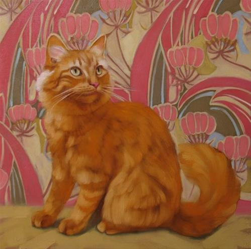 """Abigail painting of orange tabby"" original fine art by Diane Hoeptner"