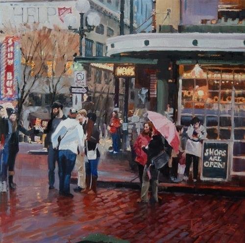 """Market Entrance  Seattle city, oil painting by Robin Weiss"" original fine art by Robin Weiss"
