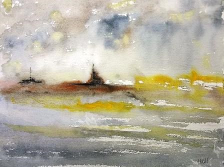 """Battleships"" original fine art by Nancy Hall"