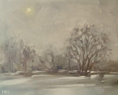 """Peeking Winter Sun"" original fine art by Michael Naples"