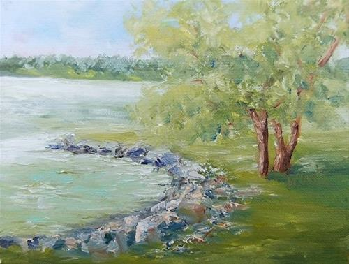 """Good Day for Fishing?, 6 x 8 Oil, Landscape"" original fine art by Donna Pierce-Clark"