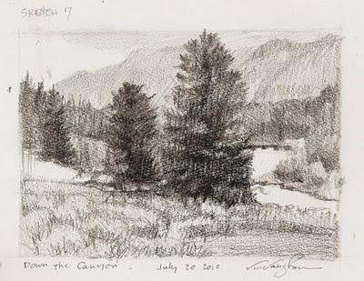 """Sketch #7- Down the Canyon-mountains,"" original fine art by V.... Vaughan"