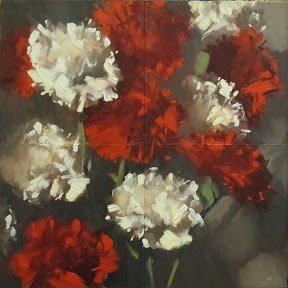 """CARNATIONS ( 4, 4x4 separate panels )"" original fine art by Helen Cooper"