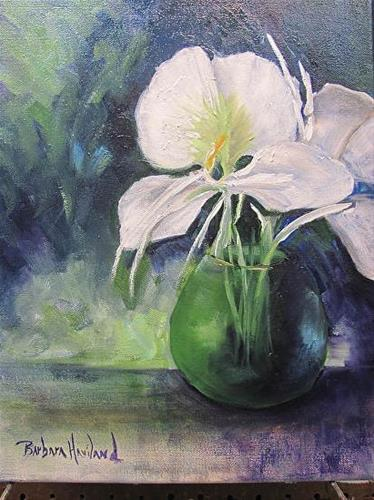 """Butterfly Lilies in Vase"" original fine art by Barbara Haviland"