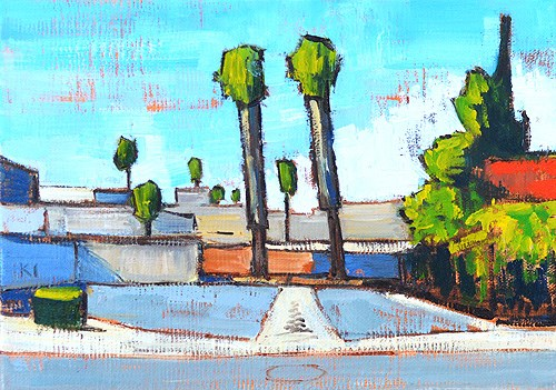 """Parking Lot Palms, Escondido Painting"" original fine art by Kevin Inman"