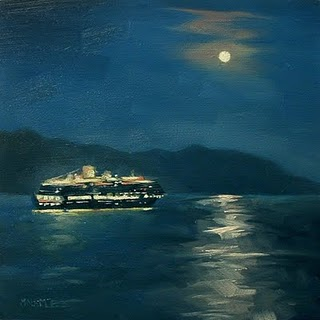 """Ship In The Night"" original fine art by Michael Naples"