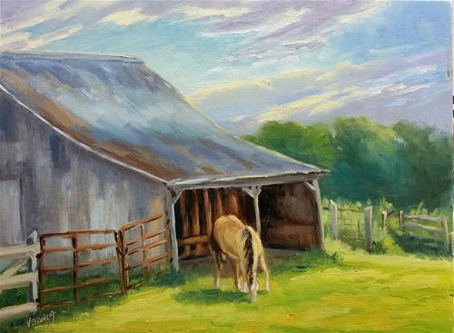 """Good morning, Wayne-en plein air"" original fine art by Veronica Brown"