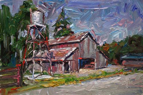 """Edna Barn and Water Tower"" original fine art by Raymond Logan"