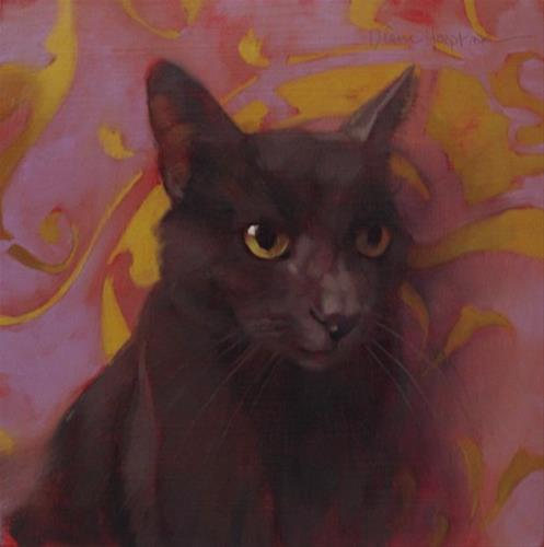 """Coco Cat on Swirl a new cat painting"" original fine art by Diane Hoeptner"