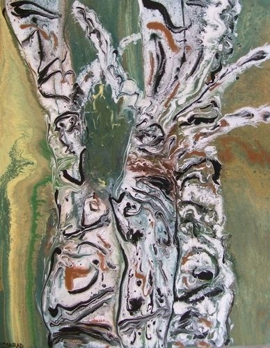 """Abstract Aspen Tree Painting,Whimsical Trees,Dancing Aspens  by Colorado Contemporary Artist Kimbe"" original fine art by Kimberly Conrad"