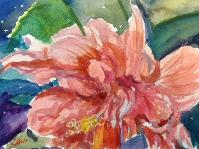 """#7/30 in 30 - Frilly Hibiscus"" original fine art by Lyn Gill"