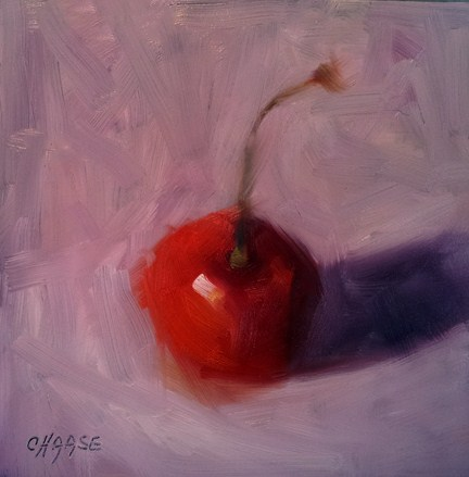 """Cherry on Purple"" original fine art by Cindy Haase"