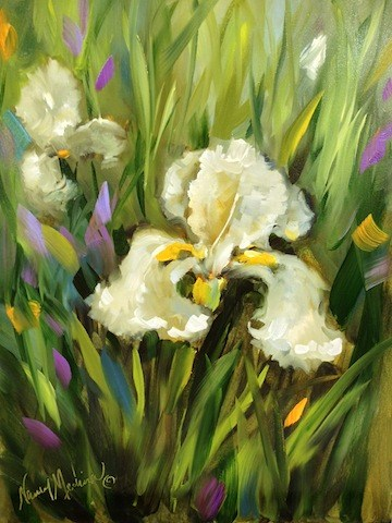 """White Gold Iris Garden and a Flower Painting Workshop by Texas Artist Nancy Medina"" original fine art by Nancy Medina"