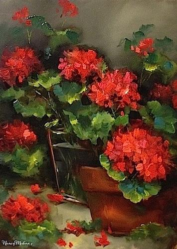 """Vero Amore Red Geraniums and Recycled Flowers in the Studio - Flower Paintings by Nancy Medina"" original fine art by Nancy Medina"