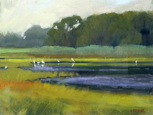 """Marsh with egrets"" original fine art by Kathy Weber"