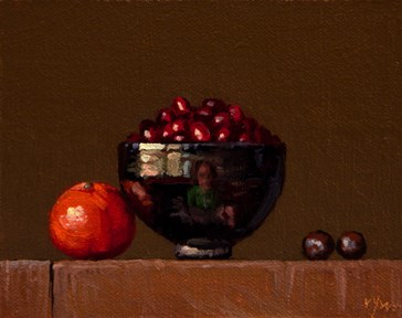"""Golden Series: Tangerine, Horse chestnuts, & Cranberries"" original fine art by Abbey Ryan"
