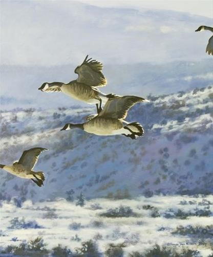 """Original Canada Geese Wildlife Painting Gliding Home by Colorado Artist Nancee Jean Busse"" original fine art by Nancee Busse"