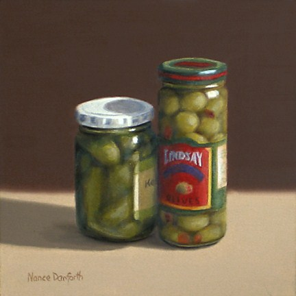 """""""Olives and Pickles"""" original fine art by Nance Danforth"""
