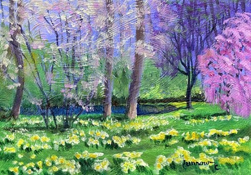 """ORIGINAL PAINTING OF SPRING TREES AND DAFFODILS AT A POND"" original fine art by Sue Furrow"