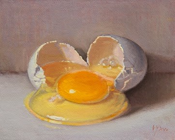 """Cracked Egg"" original fine art by Abbey Ryan"