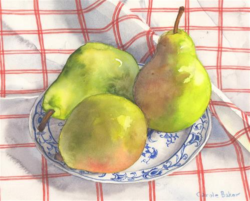 """Pears on Red and White Tablecloth"" original fine art by Carole Baker"