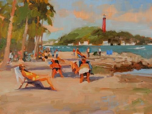 """Dubois Sunbathers 14th Annual Plein Air Festival, Lighthouse Art Center, oil painting by Robin Wei"" original fine art by Robin Weiss"