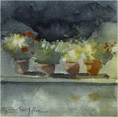 """patio 71"" original fine art by Emilio López"