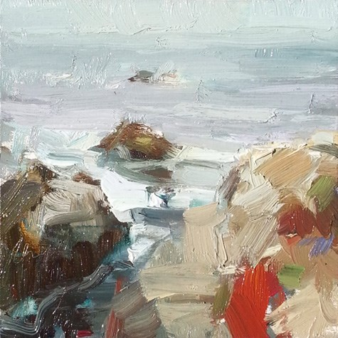 """Painting in California 15 Rocks and plantlife (sold)"" original fine art by Roos Schuring"