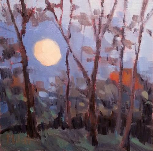 """Supermoon 2016 Oil Painting Impressionism Heidi Malott"" original fine art by Heidi Malott"
