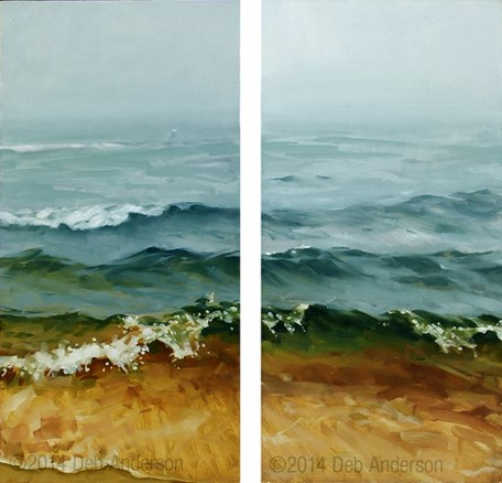 """Oil Paintings: Lake Fog, North and South"" original fine art by Deb Anderson"