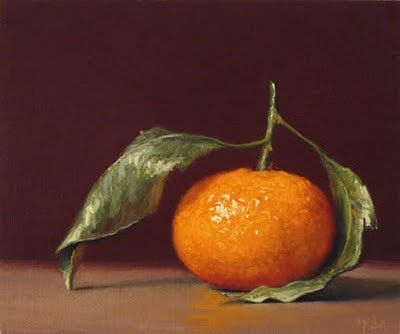 """Tangerine with Stem No. 2"" original fine art by Abbey Ryan"
