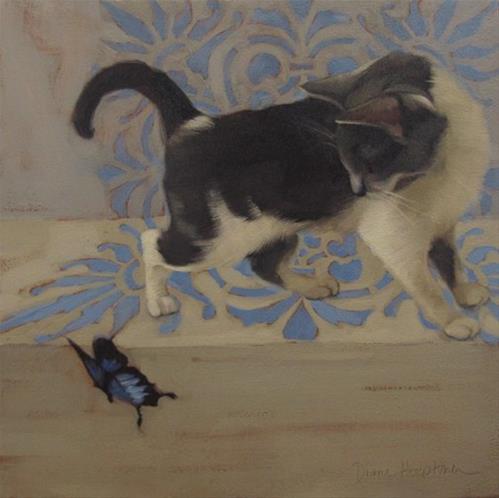 """Cat & Butterfly III cat painting, butterfly,"" original fine art by Diane Hoeptner"