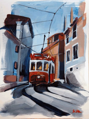 """1621 The Tram Ride"" original fine art by Dietmar Stiller"